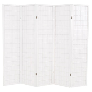 Folding 5-Panel Room Divider Japanese Style 200x170 cm White