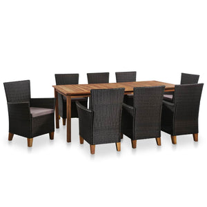 9 Piece Outdoor Dining Set Poly Rattan Black and Brown sku 44098