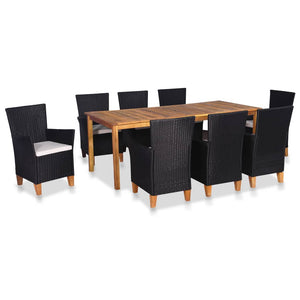 9 Piece Outdoor Dining Set Poly Rattan Black and Brown sku 44102