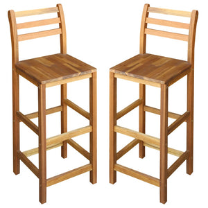 Bar Chairs 2 pcs Solid Acacia Wood sku 44130