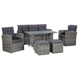 6 Piece Garden Lounge Set with Cushions Poly Rattan Grey sku 43960