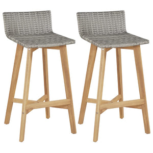 Bar Chairs 2 pcs Solid Acacia Wood sku 44229