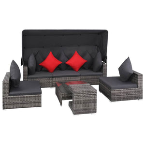 7 Piece Garden Lounge Set with Cushions Poly Rattan Grey sku 44428
