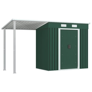 Garden Shed with Extended Roof Green 346x121x181 cm Steel