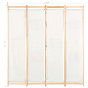 4-Panel Room Divider Cream 160x170x4 cm Fabric