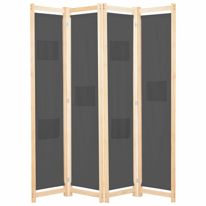 4-Panel Room Divider Grey 160x170x4 cm Fabric