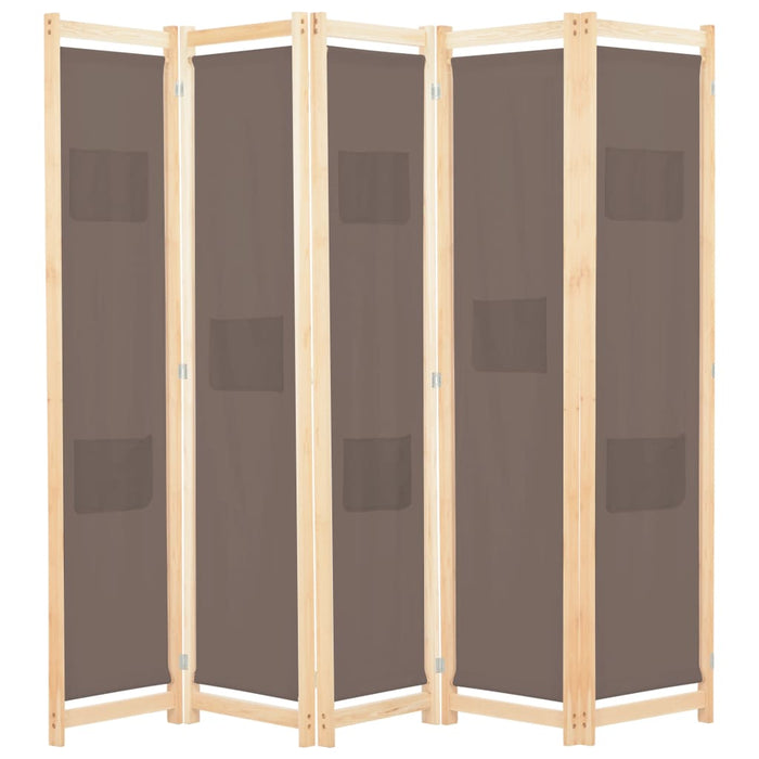 5-Panel Room Divider Brown 200x170x4 cm Fabric