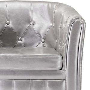 Tub Chair Silver Faux Leather