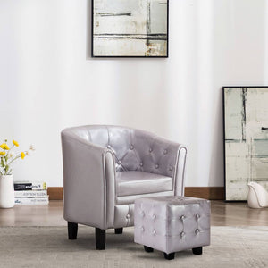 Tub Chair with Footstool Silver Faux Leather