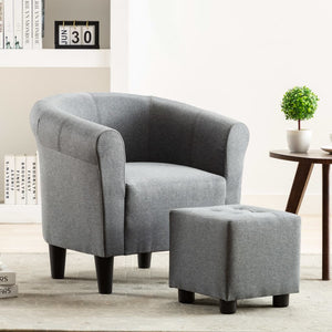 2 Piece Armchair and Stool Set Light Grey Fabric