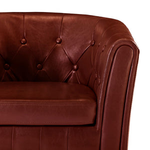 Tub Chair Wine Red Faux Leather