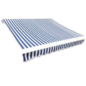 Awning Top Sunshade Canvas Blue & White 4 x 3 m