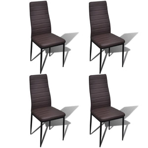 Dining Chairs 4 pcs Brown Faux Leather sku-241501