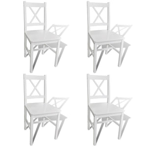 Dining Chairs 4 pcs White Pinewood