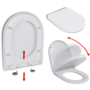 Soft-close Toilet Seat with Quick-release Design White Square