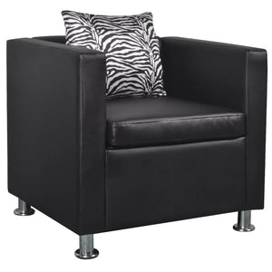 Armchair Black Faux Leather sku-242210
