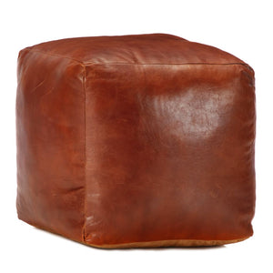 Pouffe Tan 40x40x40 cm Genuine Goat Leather