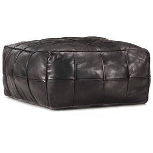 Pouffe Black 60x60x30 cm Genuine Goat Leather