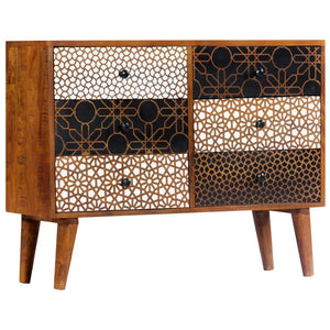 Sideboard with Printed Pattern 90x30x70 cm Solid Mango Wood