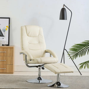 Reclining Chair with Footstool Cream White Faux Leather