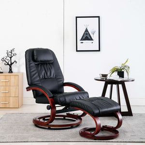 Reclining Chair with Footstool Black Faux Leather sku 248701