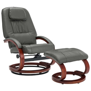 Reclining Chair with Footstool Grey Faux Leather sku 248702
