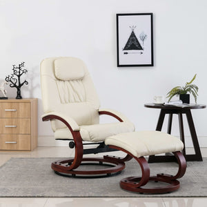 Reclining Chair with Footstool Cream White Faux Leather sku 248704