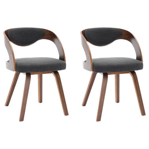 Dining Chairs 2 pcs Dark Grey Bent Wood and Fabric sku 283103