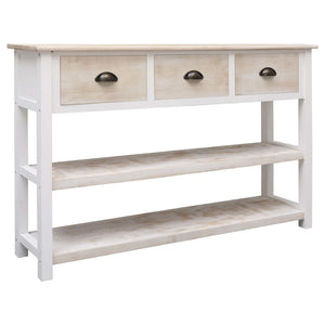 Sideboard Natural and White 115x30x76 cm Wood