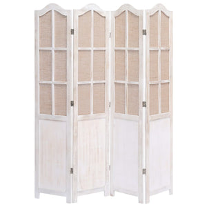 4-Panel Room Divider White 140x165 cm Fabric