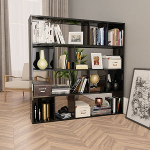 Room Divider/Book Cabinet High Gloss Black 110x24x110 cm Chipboard