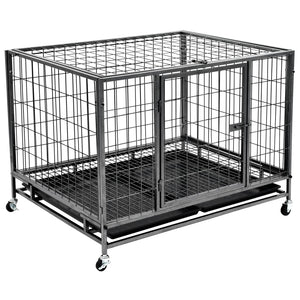 Heavy Duty Dog Cage with Wheels Steel 98x77x72 cm