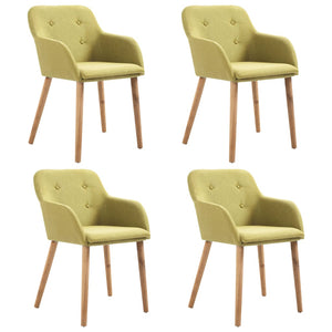 Dining Chairs 4 pcs Green Fabric and Solid Oak Wood