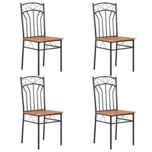 Dining Chairs 4 pcs Brown MDF