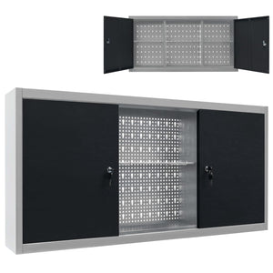 Wall Mounted Tool Cabinet Industrial Style Metal Grey and Black sku-145366