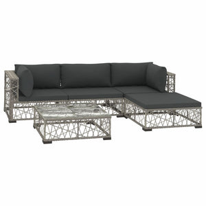 5 Piece Garden Lounge Set with Cushions Poly Rattan Grey sku 46808