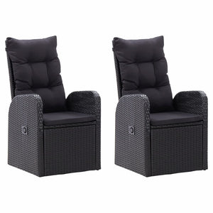 Reclining Garden Chairs 2 pcs with Cushions Poly Rattan Black sku 46065