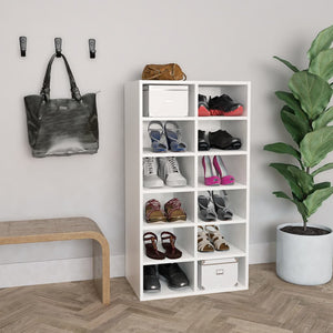 Shoe Rack White 54x34x100 cm Chipboard