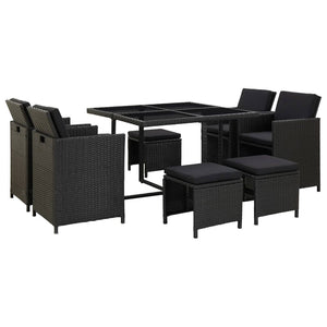 9 Piece Outdoor Dining Set with Cushions Poly Rattan Black sku 46532