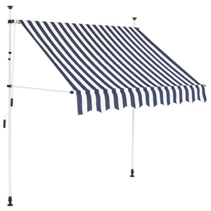 Manual Retractable Awning 200 cm Blue and White Stripes sku 48236