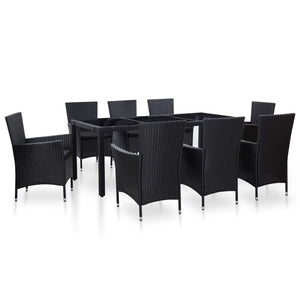 9 Piece Outdoor Dining Set Poly Rattan Black sku 45976