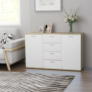 Sideboard White and Sonoma Oak 120x35.5x75 cm Chipboard