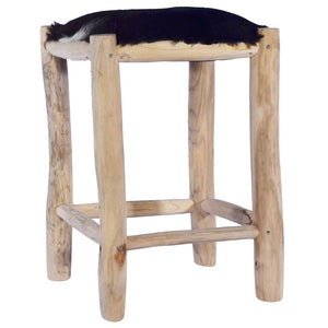 Bar Stool Real Goat Leather and Solid Teak Wood