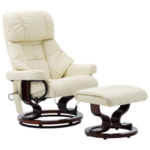 Massage Reclining Chair Cream Faux Leather and Bentwood