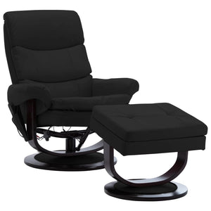 Massage Reclining Chair Black Faux Leather and Bentwood sku 289893