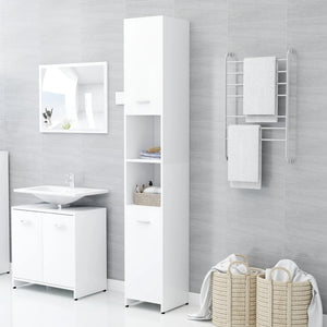 Bathroom Cabinet White 30x30x183.5 cm Chipboard