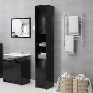 Bathroom Cabinet Black 30x30x183.5 cm Chipboard sku 25000