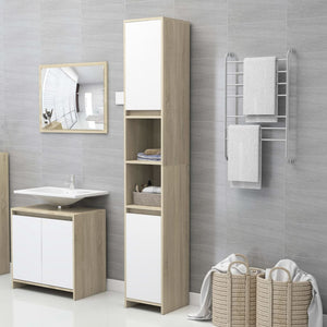 Bathroom Cabinet White and Sonoma Oak 30x30x183.5 cm Chipboard sku 25000