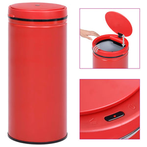 Automatic Sensor Dustbin 80 L Carbon Steel Red