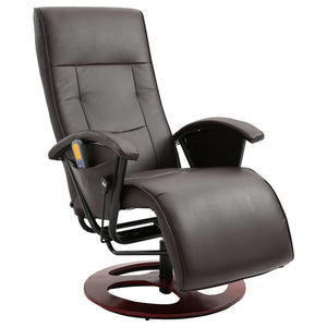 Massage Chair Brown Faux Leather sku 322474